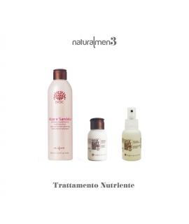 Maitinanti sistema plaukams. Alavijų ir sandalmedžių šampūnas, kaukė +  purškiamas ramunėlių ir alavijų tonikas